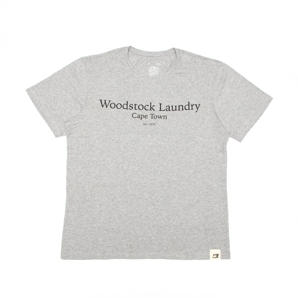 T-Shirt Grey With Black Typo - Woodstock Laundry