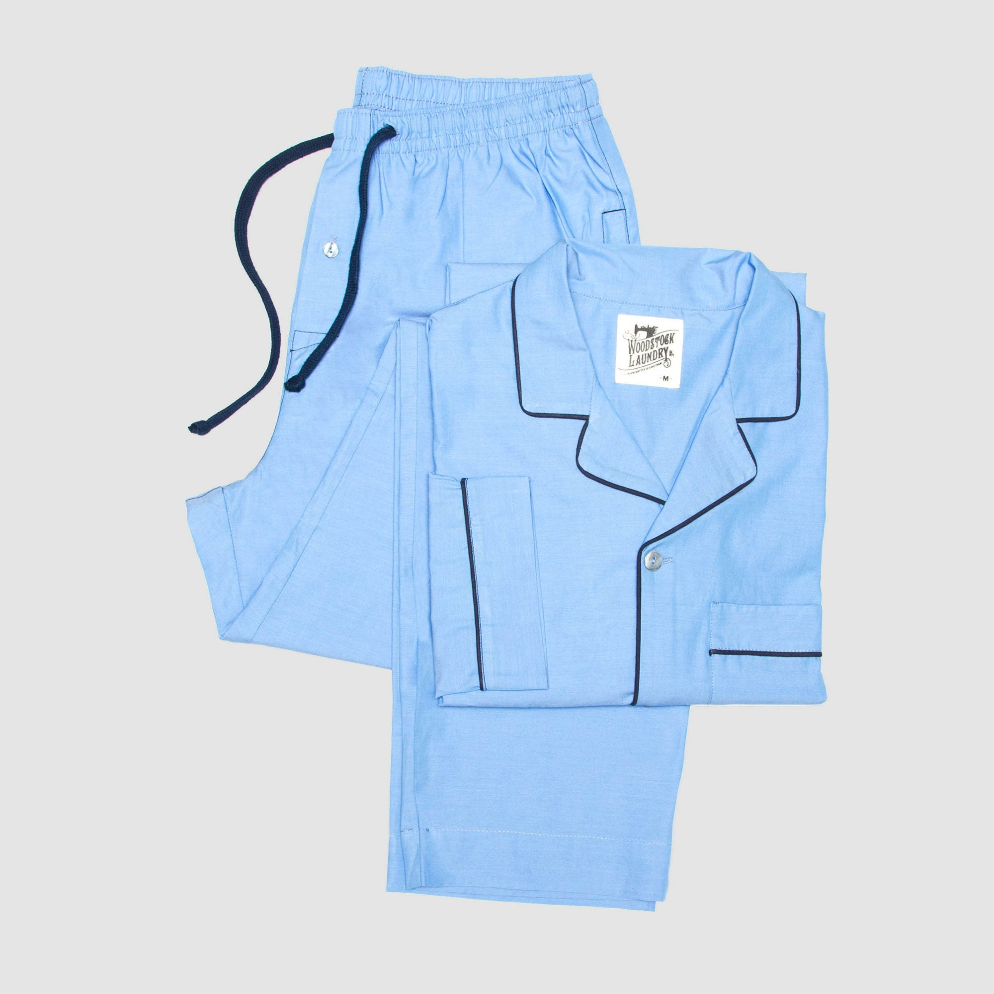 Pyjamas Chambray Light Blue with Navy Piping