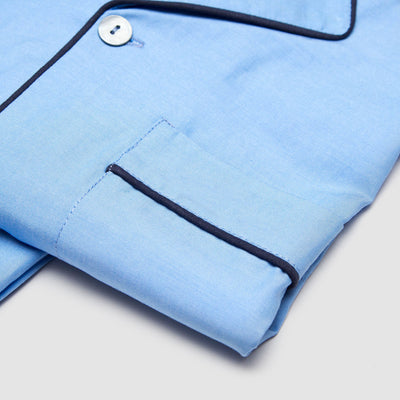 Pyjamas Chambray Light Blue with Navy Piping - Woodstock Laundry