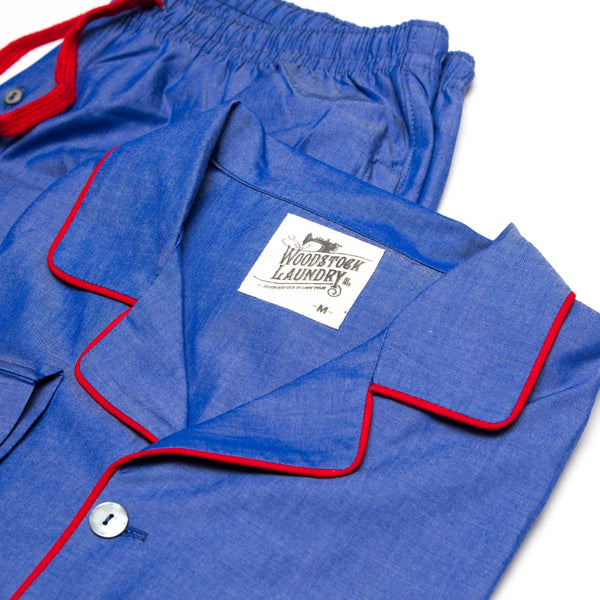 Pyjamas Chambray Royal Blue with Red Piping