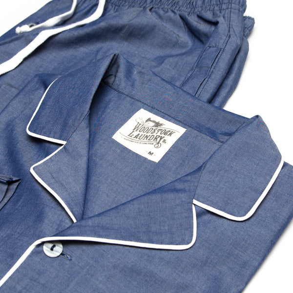Pyjamas Chambray Denim Blue with White Piping - Woodstock Laundry