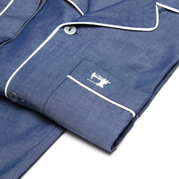 Pyjamas Chambray Denim Blue with White Piping
