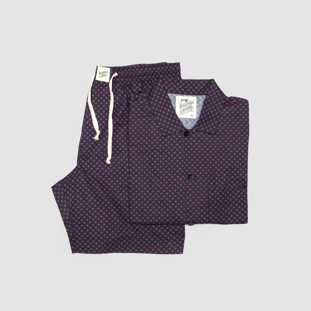 Mens Short Pyjamas Poppy Circles on Navy - Woodstock Laundry