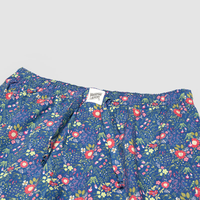 Mens Lounge Shorts Dipsy Floral Red - Woodstock Laundry
