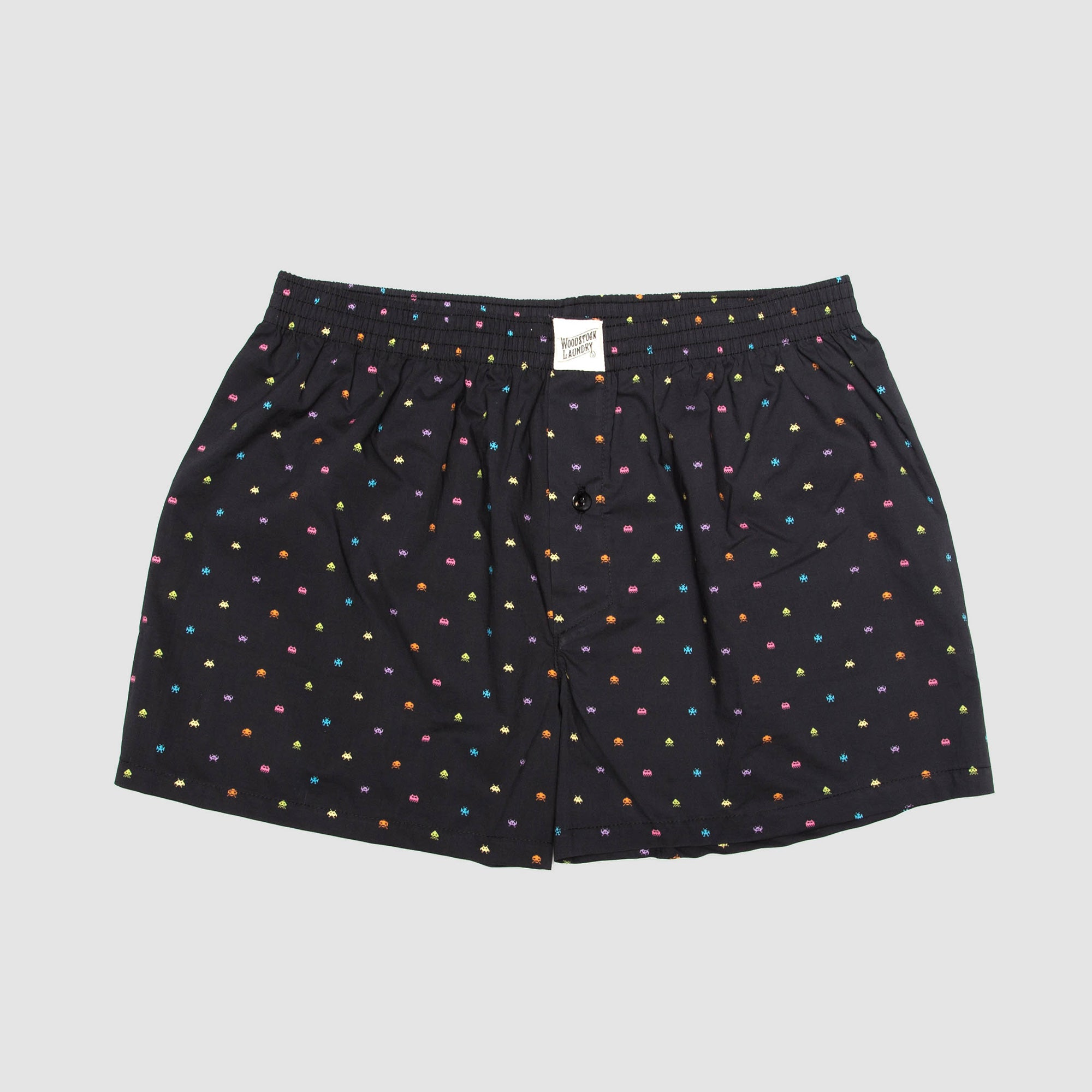 Mens Boxer Shorts Invaders Black - Woodstock Laundry