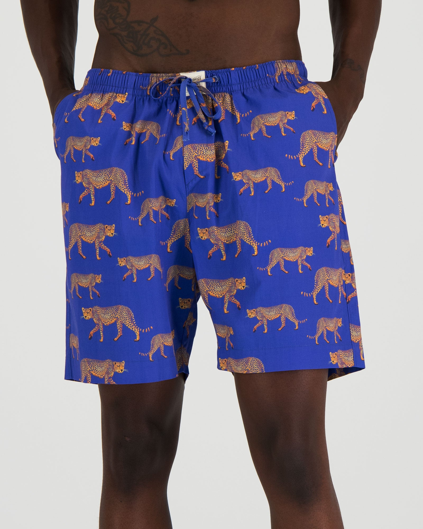 Mens Lounge Shorts Blue Cheetahs