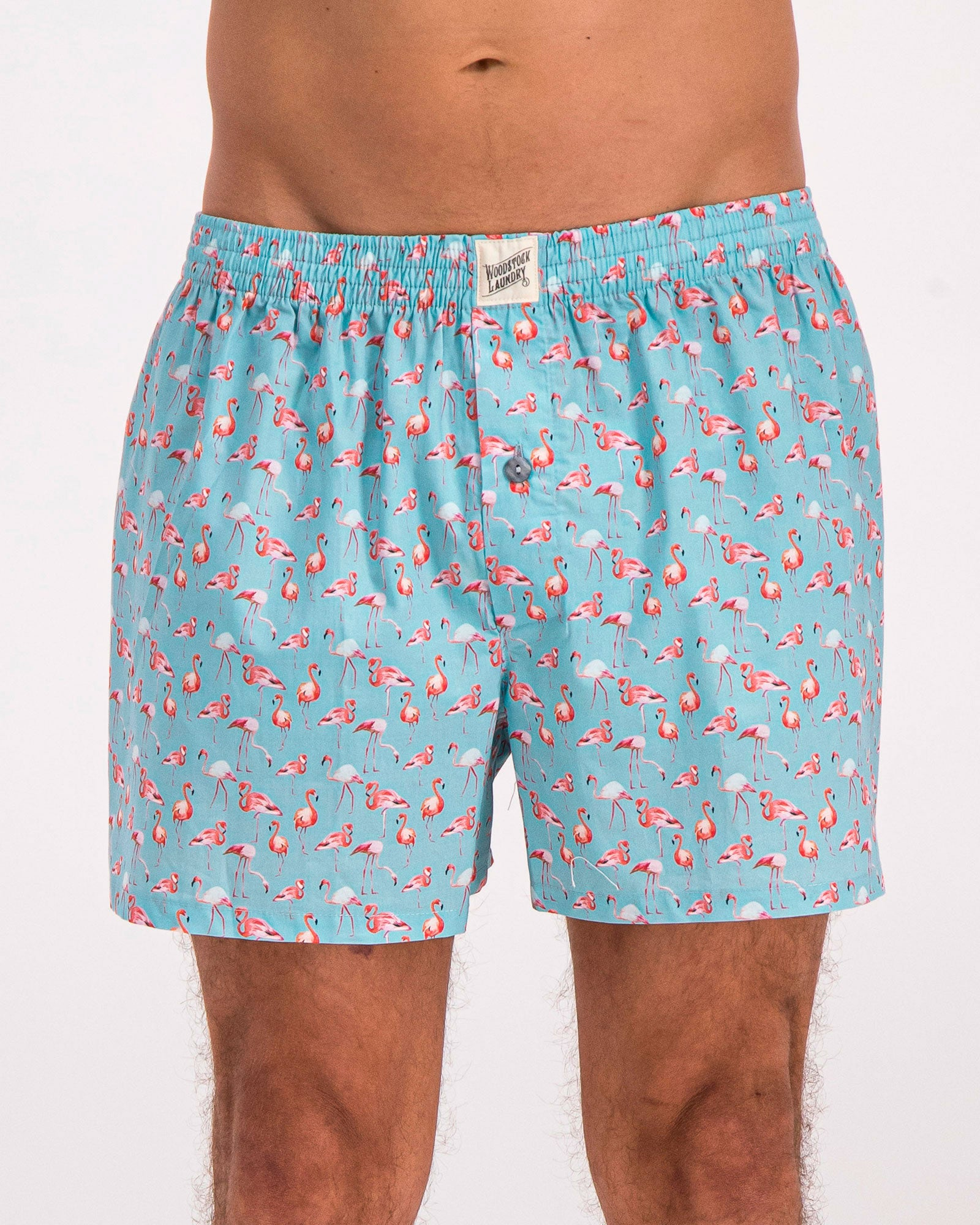 Mens Boxer Shorts Flamenco Flamingo Blue - Woodstock Laundry