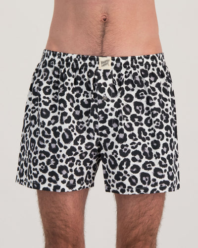 Mens Boxers Leopard White Front - Woodstock Laundry