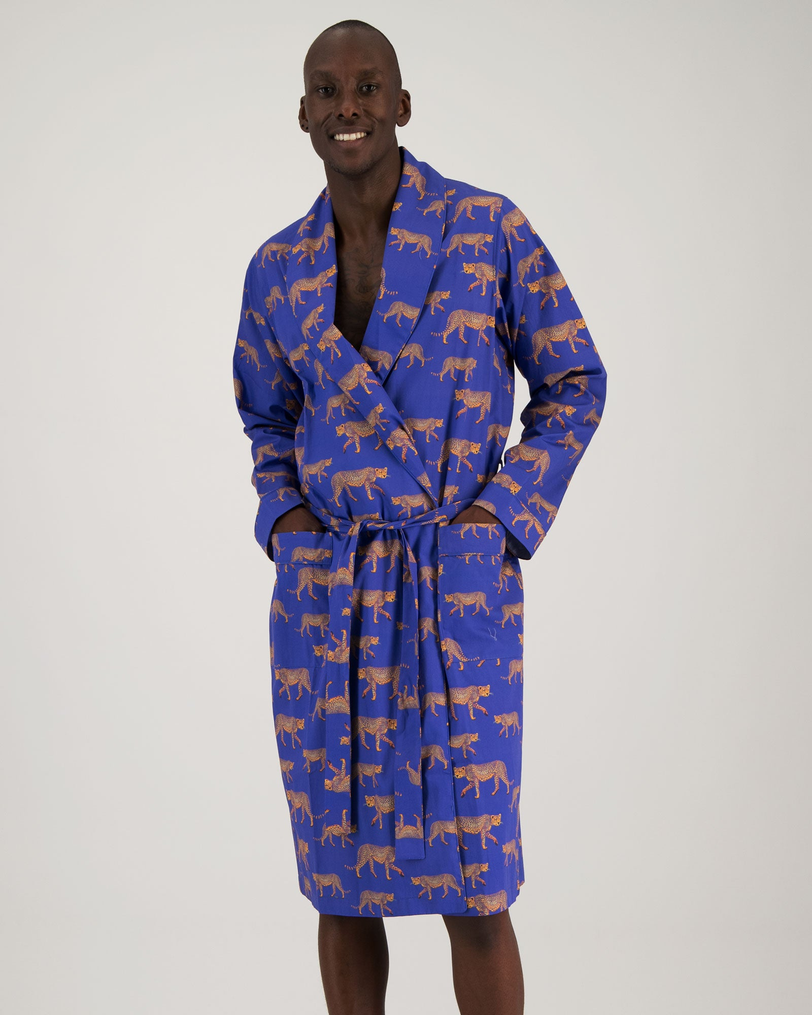 Mens Gown Blue Cheetahs Front - Woodstock Laundry