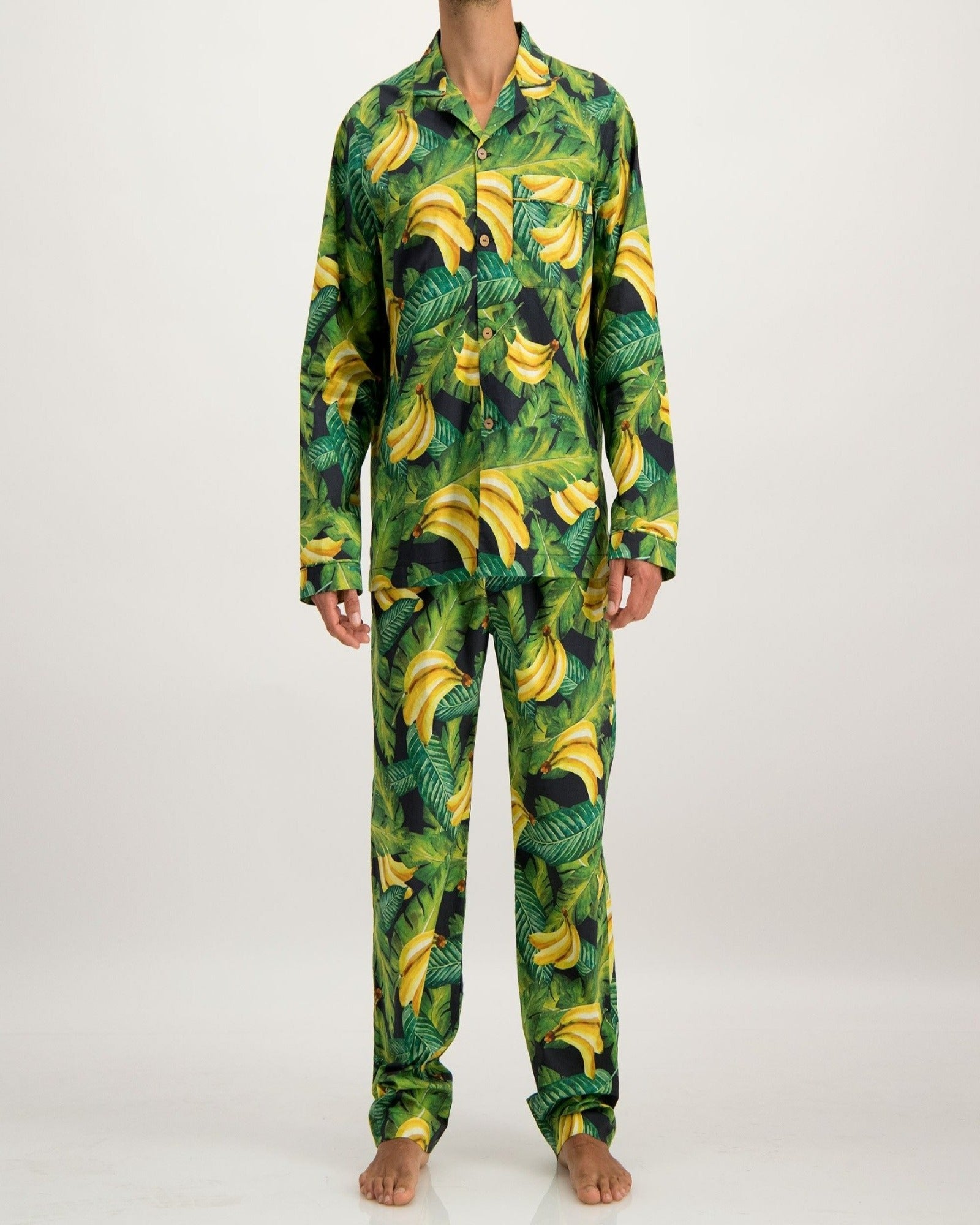 Mens Long Pyjamas Bananas On Leaves - Woodstock Laundry