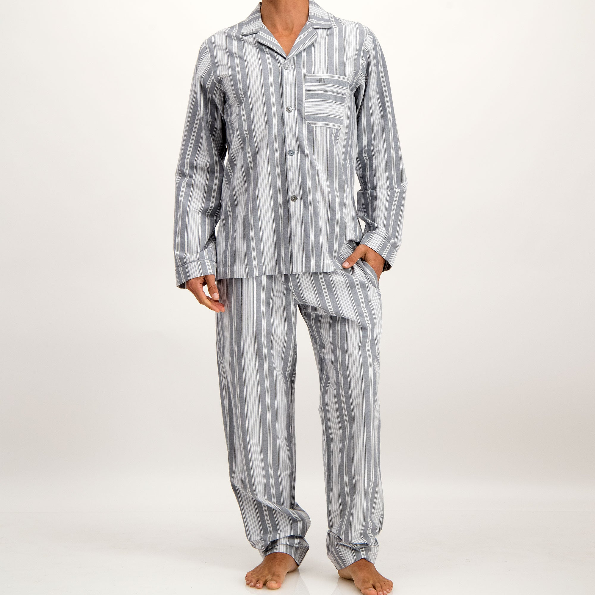 Mens Long Pyjamas Crosby Stripe Charcoal - Woodstock Laundry
