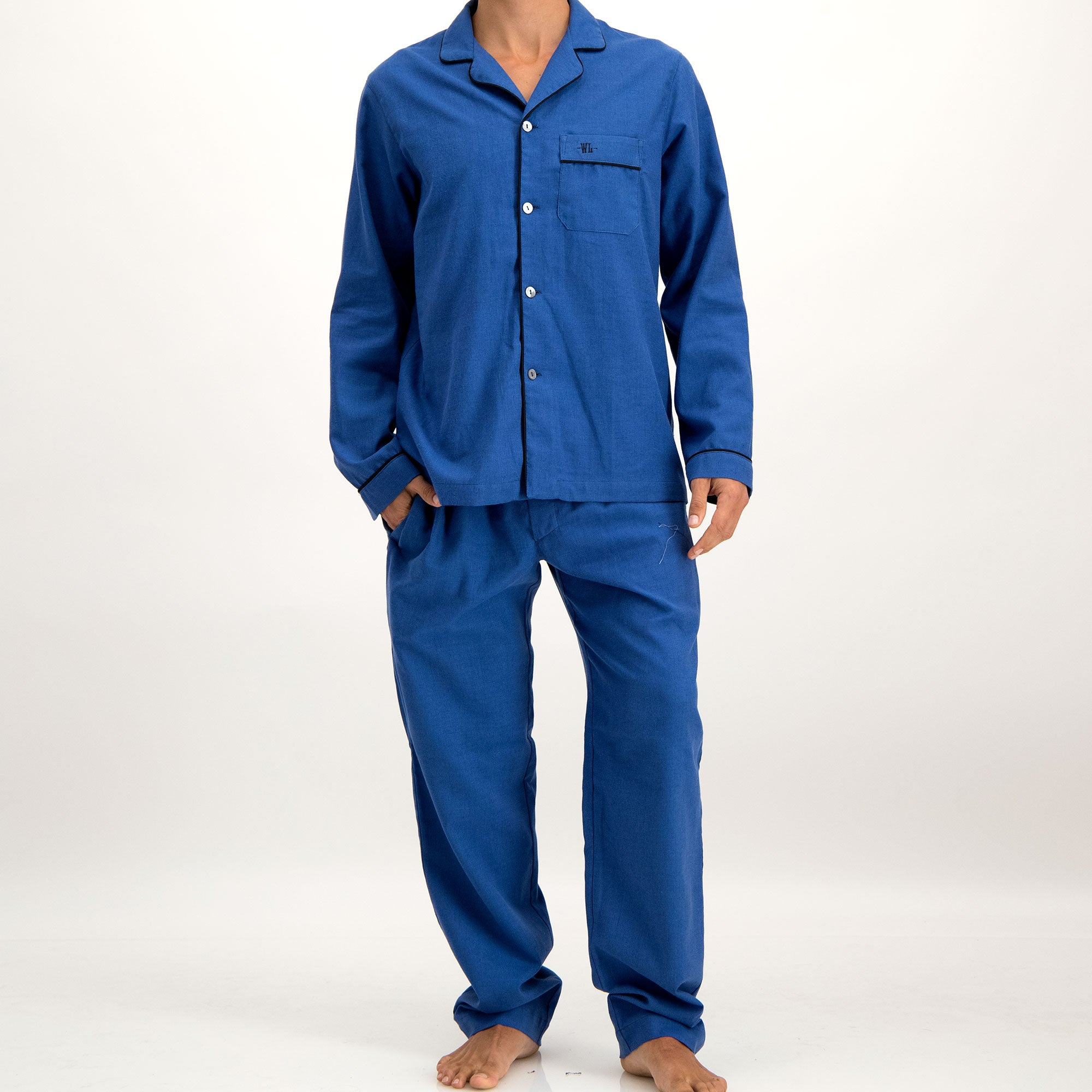 Mens Long Pyjamas Electric Blue Flannel - Woodstock Laundry