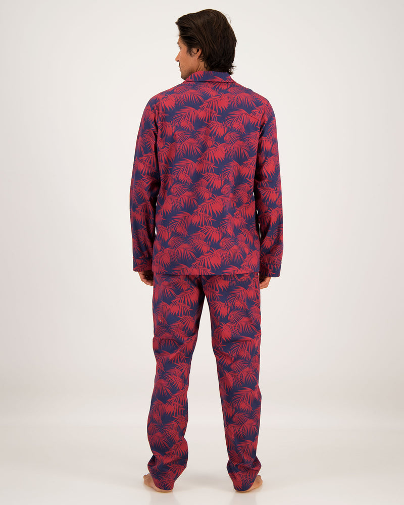 Mens Long Pyjamas Tropical Red
