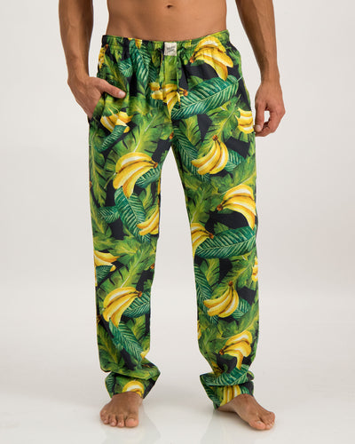 Mens Lounge Pants Bananas On Leaves - Woodstock Laundry
