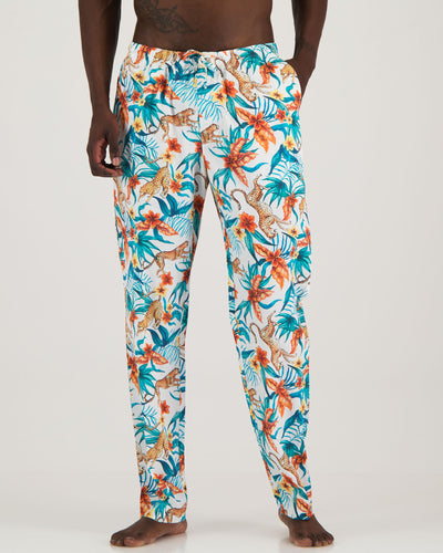 Mens Lounge Pants - Jungle Cheetahs White