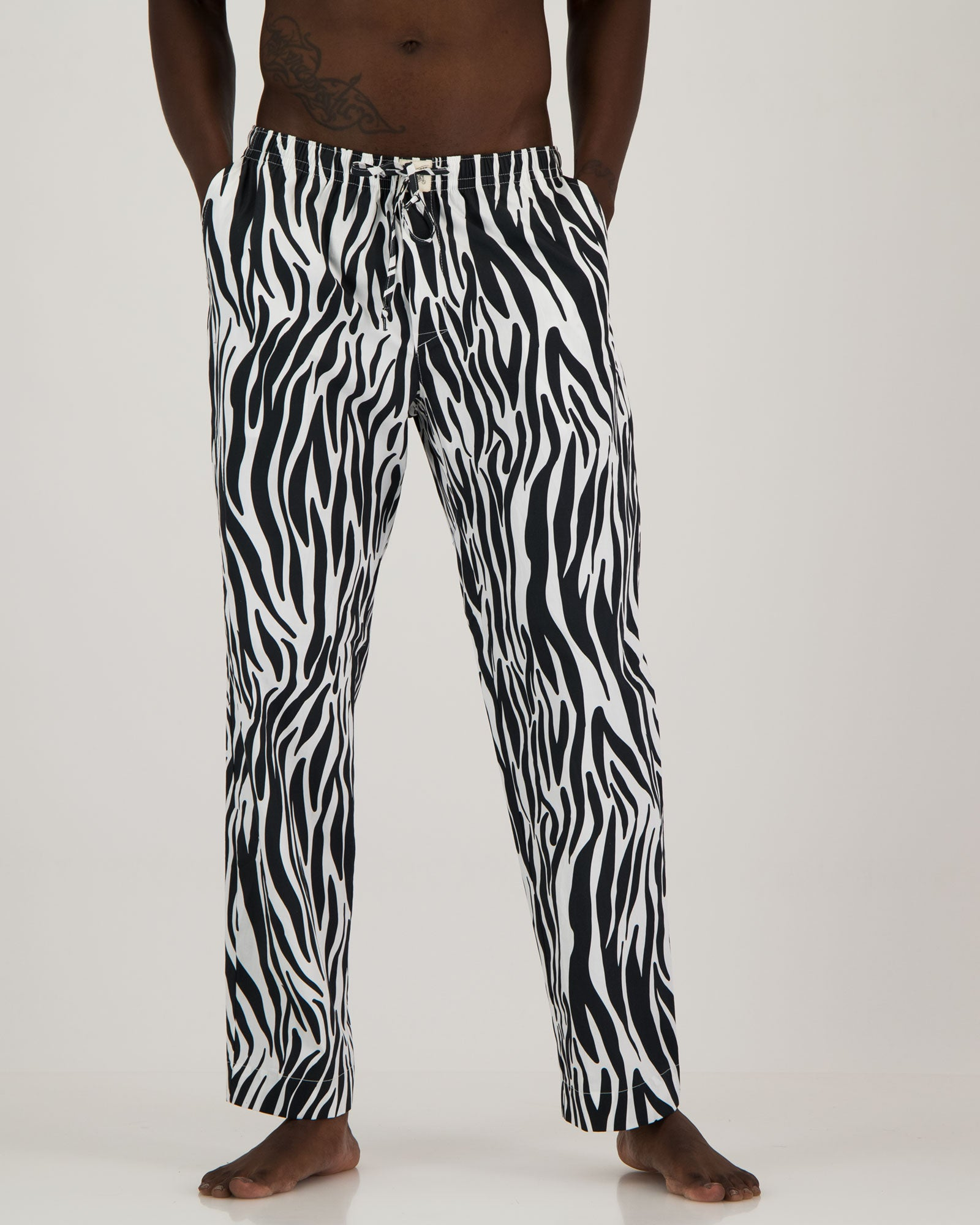 Mens Lounge Pants Zebra Front - Woodstock Laundry