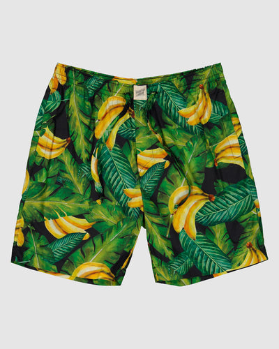 Mens Lounge Shorts Bananas On Leaves Front - Woodstock Laundry