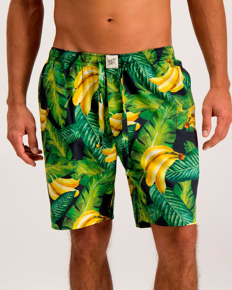 Mens Lounge Shorts Bananas On Leaves - Woodstock Laundry