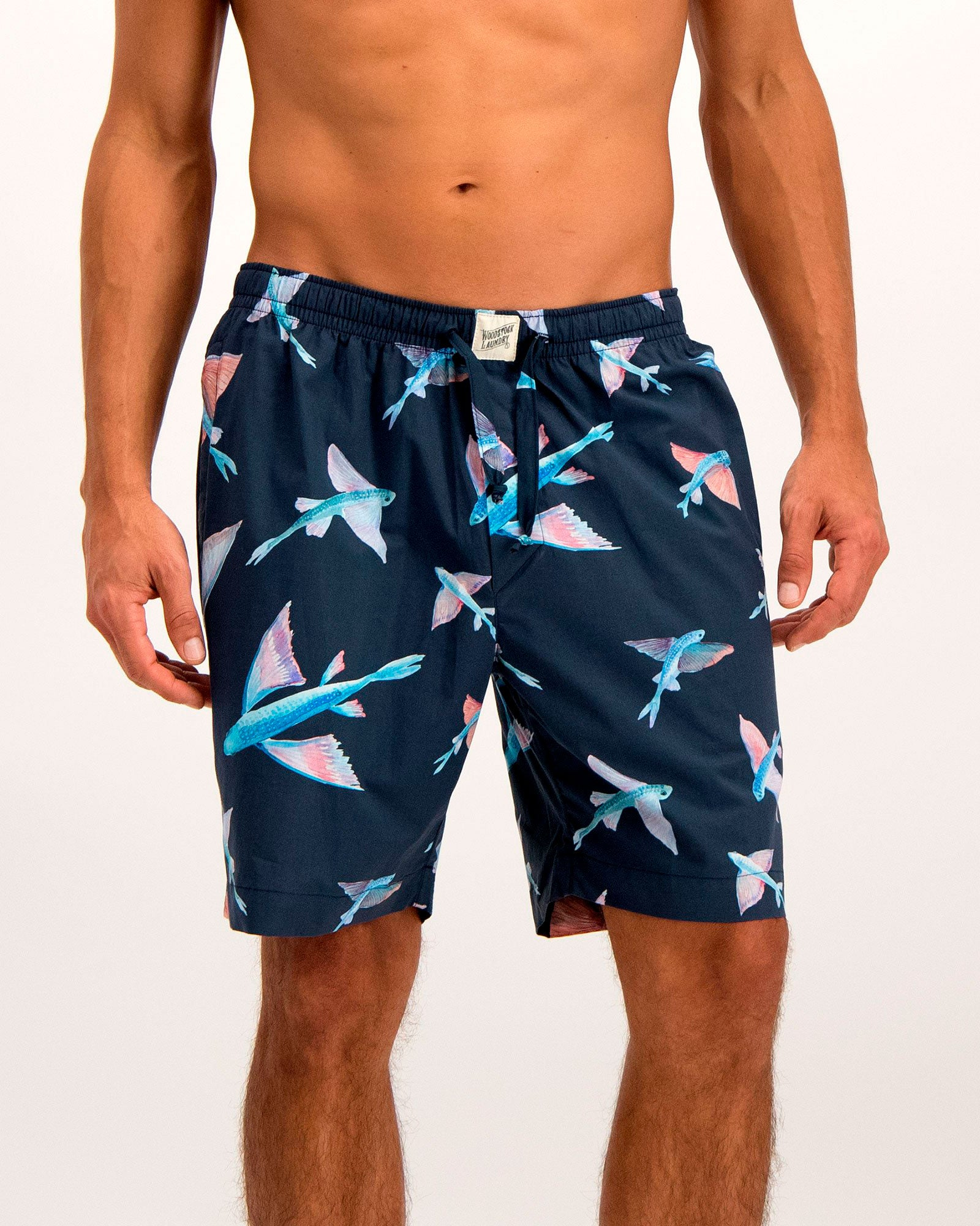 Mens Lounge Shorts Flying Fish Navy - Woodstock Laundry