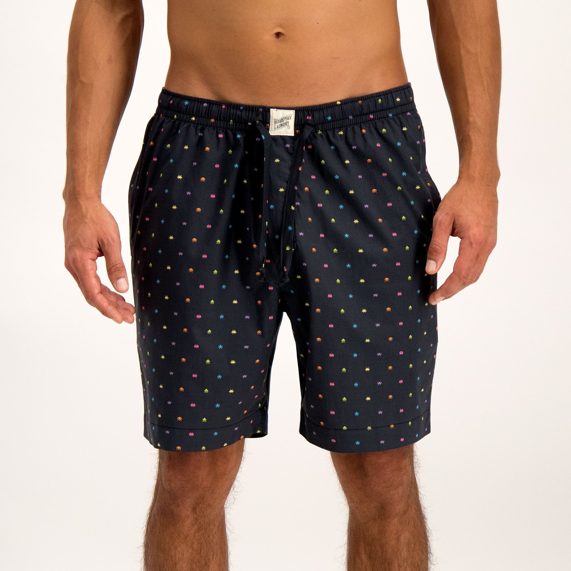 Mens Lounge Shorts Invaders Black - Woodstock Laundry