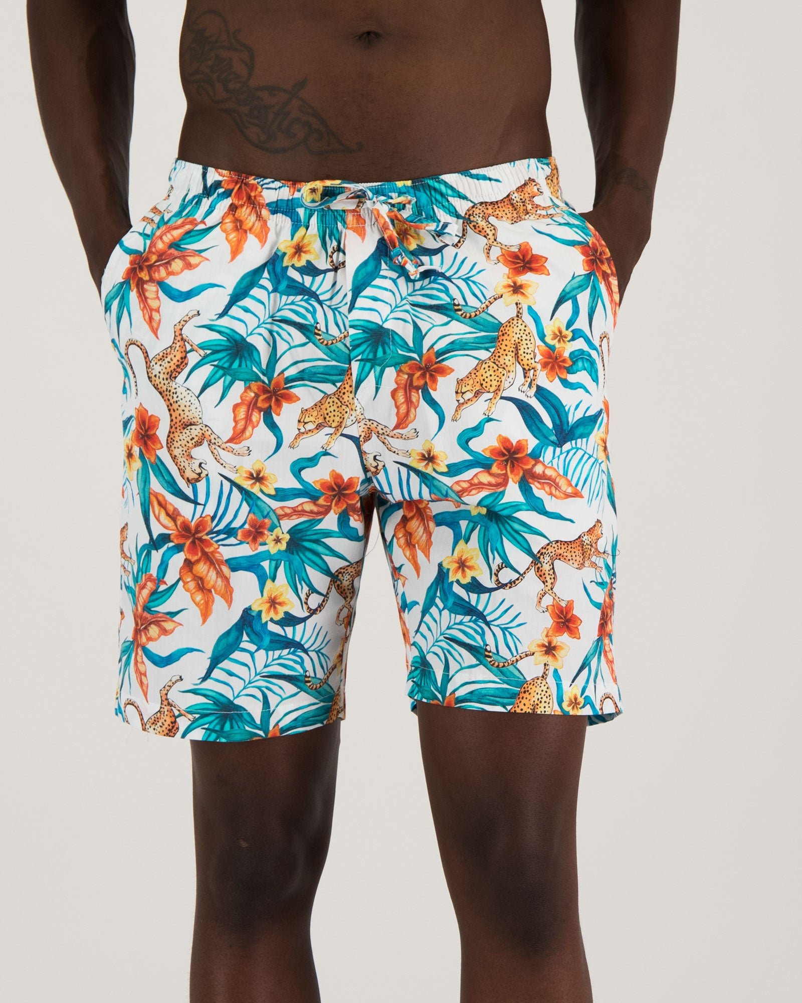 Mens Lounge Shorts - Jungle Cheetah White