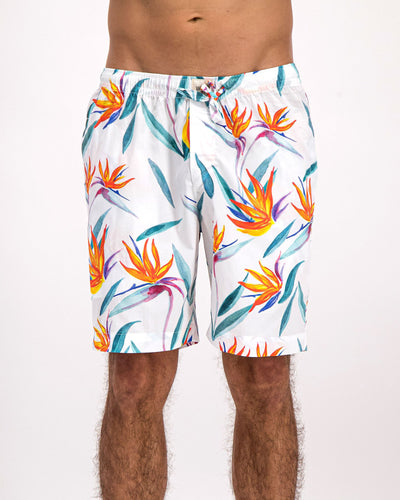 Mens Lounge Shorts Strelitzia White - Woodstock Laundry