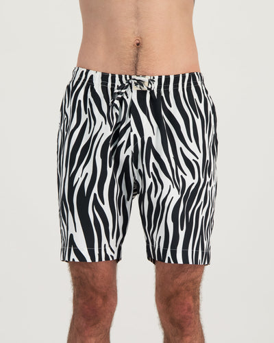 Mens Lounge Shorts Zebra Front - Woodstock Laundry