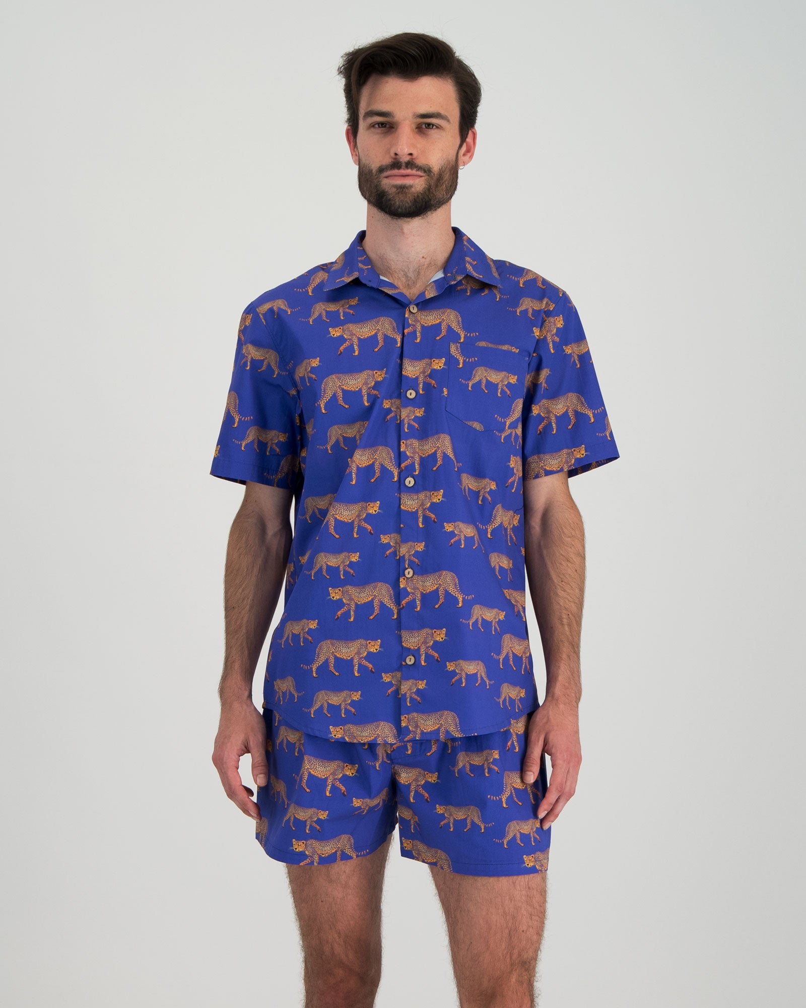 Mens Short Pyjamas Blue Cheetahs Front - Woodstock Laundry