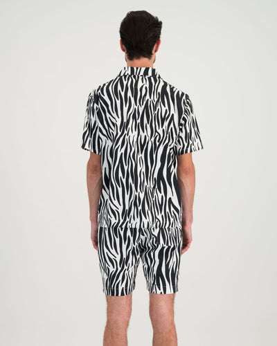 Mens Short Pyjama Set Zebra Back - Woodstock Laundry