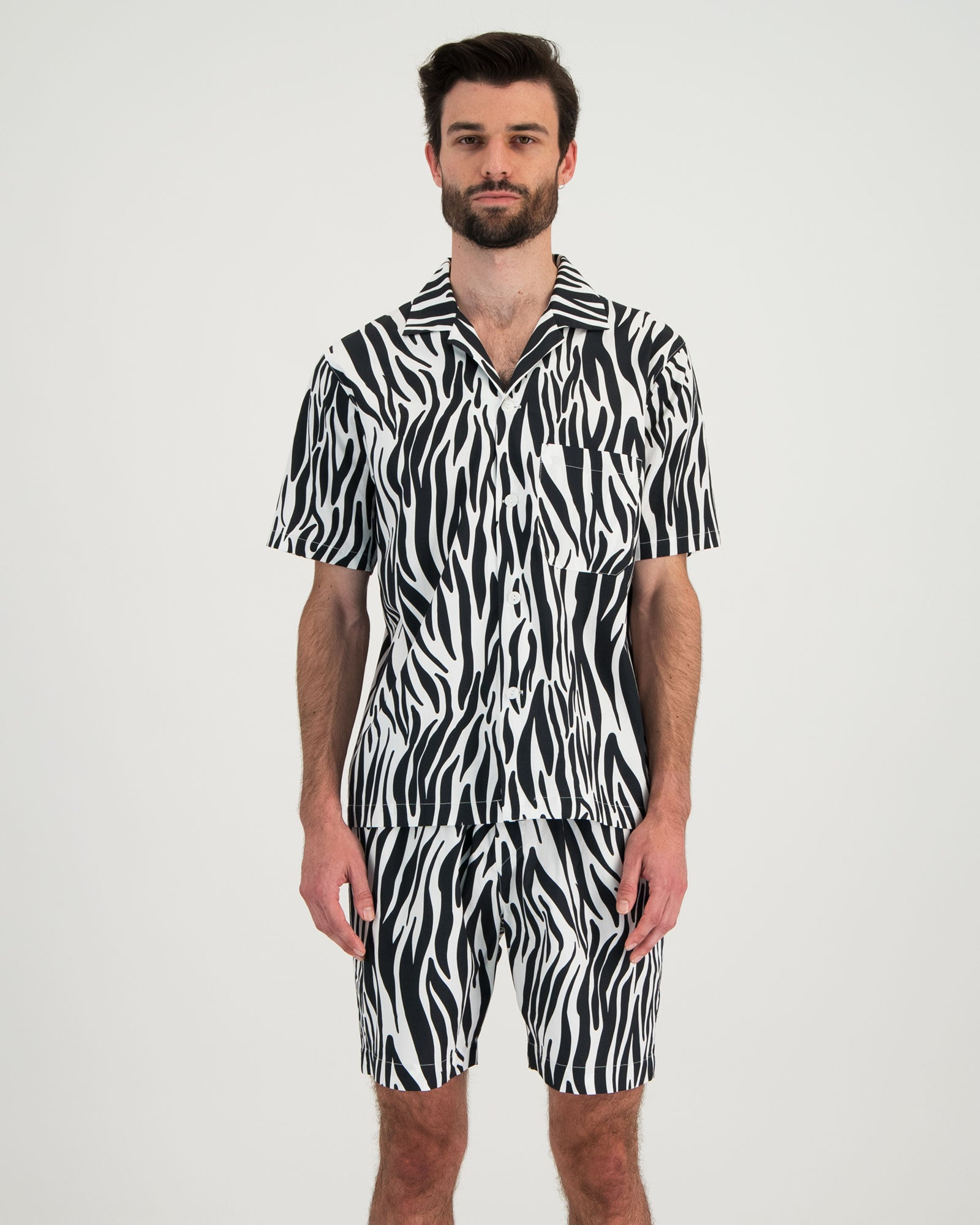 Mens Short Pyjama Set Zebra Front - Woodstock Laundry