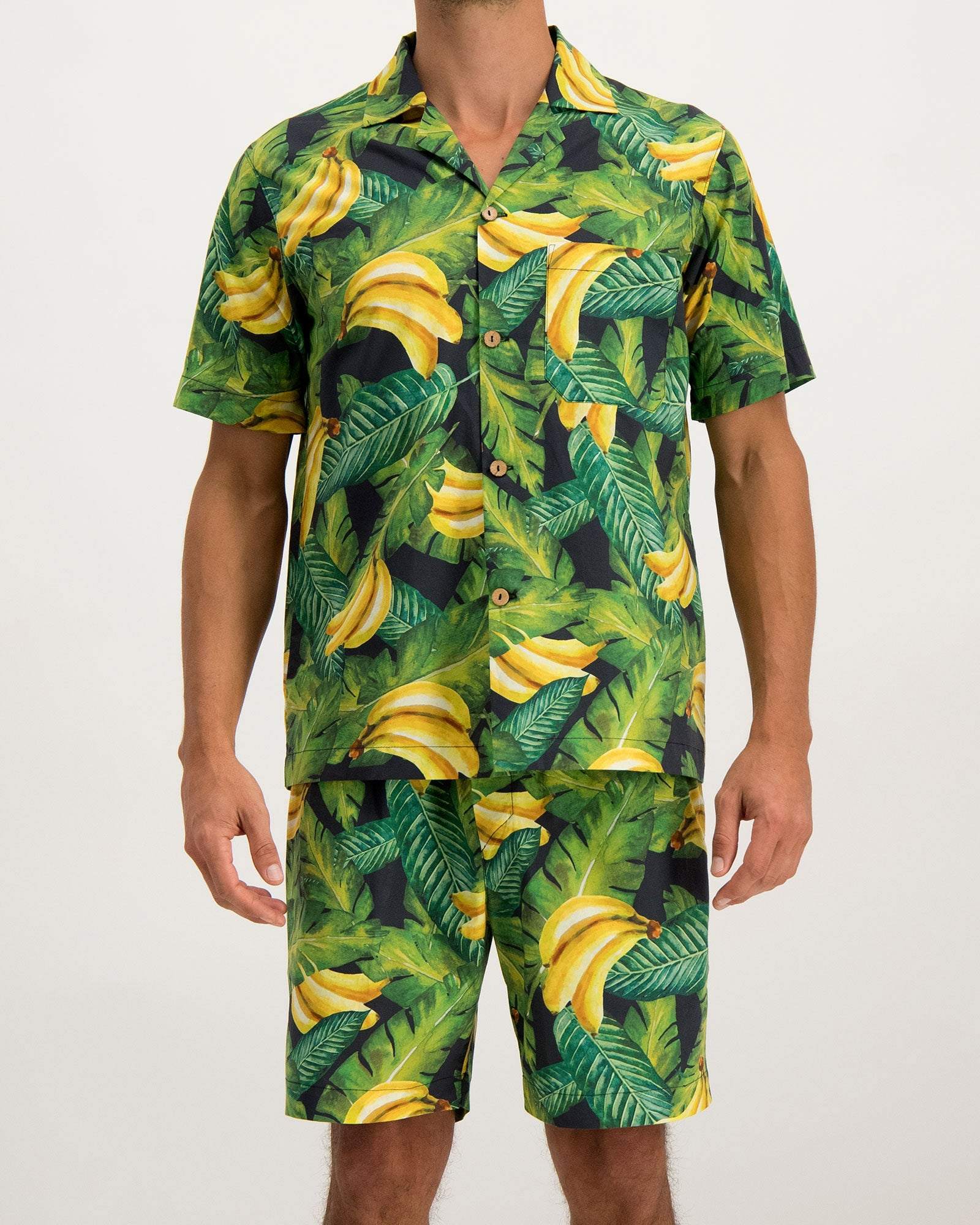 Mens Short Pyjamas Bananas on Leaves