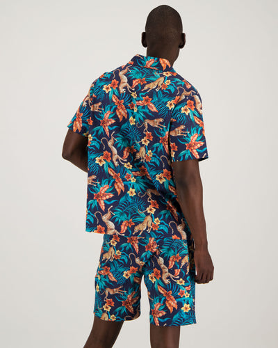 Mens Short Pyjamas - Jungle Cheetah Navy