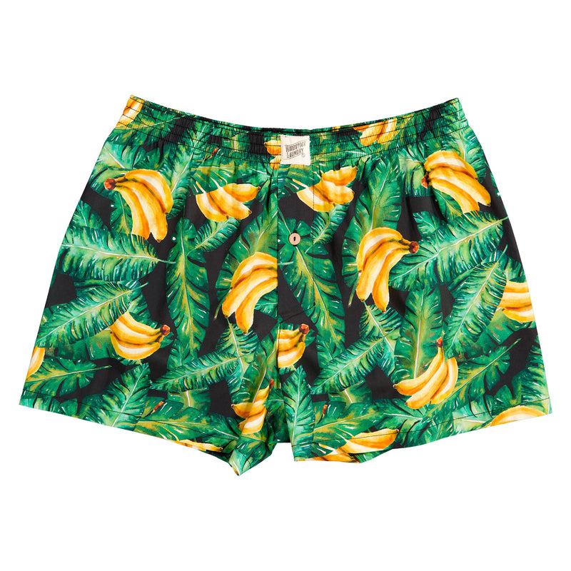 Mens Boxer Shorts Bananas On Leaves