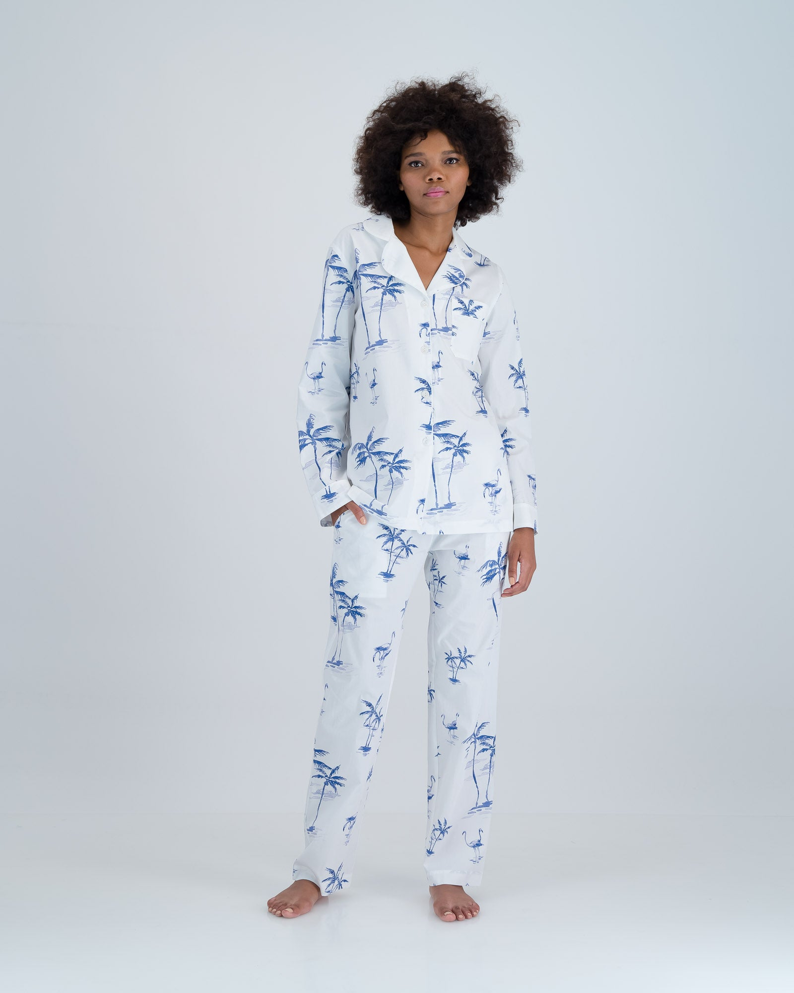 Womens Long Pyjamas Navy Palms