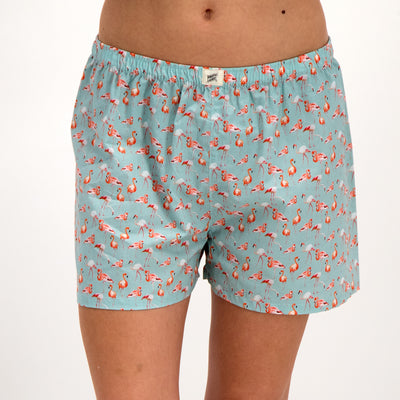 Womens Boxer Shorts Flamingo-Flamenco Blue - Woodstock Laundry