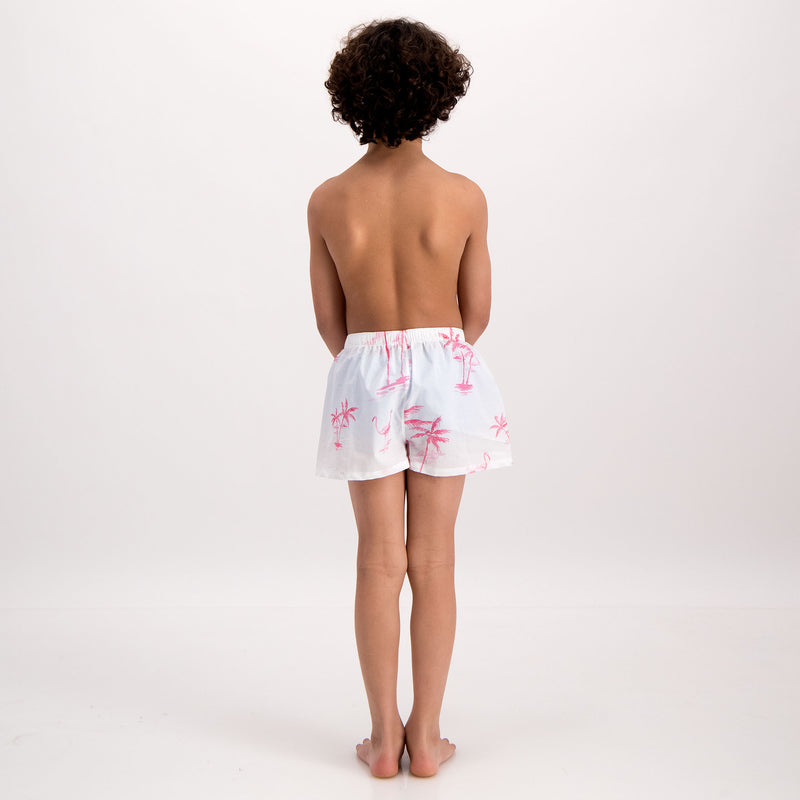 Boys Lounge Shorts Pink Palm - Woodstock Laundry