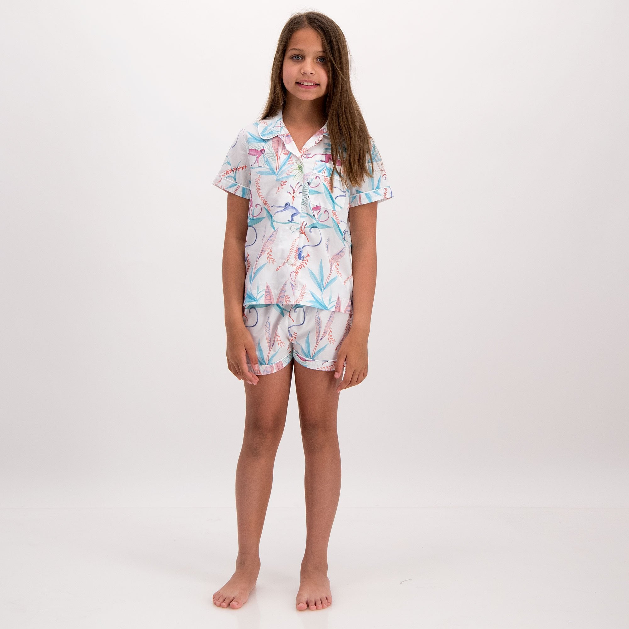 Girls Short Pyjamas Monkeys - Woodstock Laundry