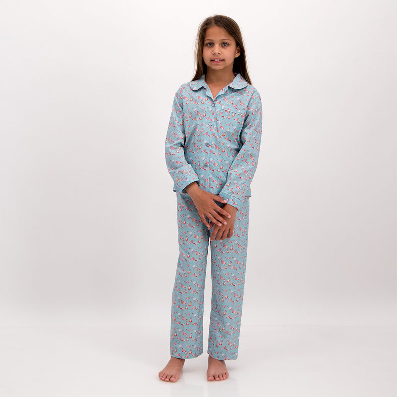 Girls Long Pyjamas Flamingo-Flamenco Blue - Woodstock Laundry