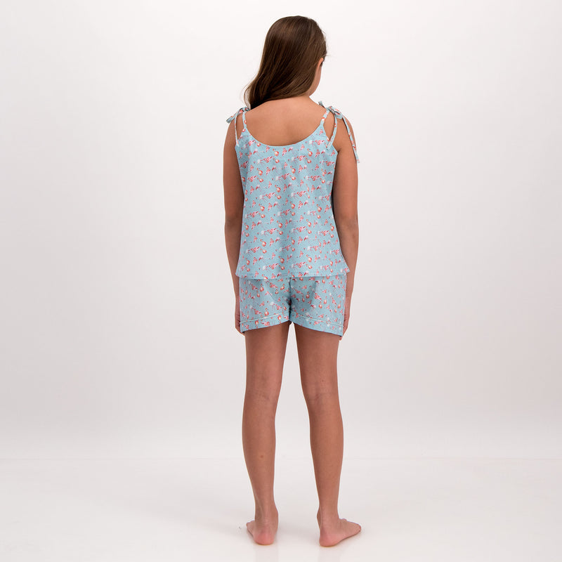 Girls Camisole Pyjamas Flamingo-Flamenco Blue - Woodstock Laundry