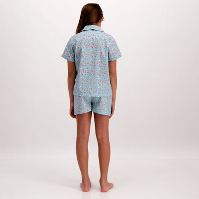 Girls Short Pyjamas Flamingo-Flamenco Blue - Woodstock Laundry