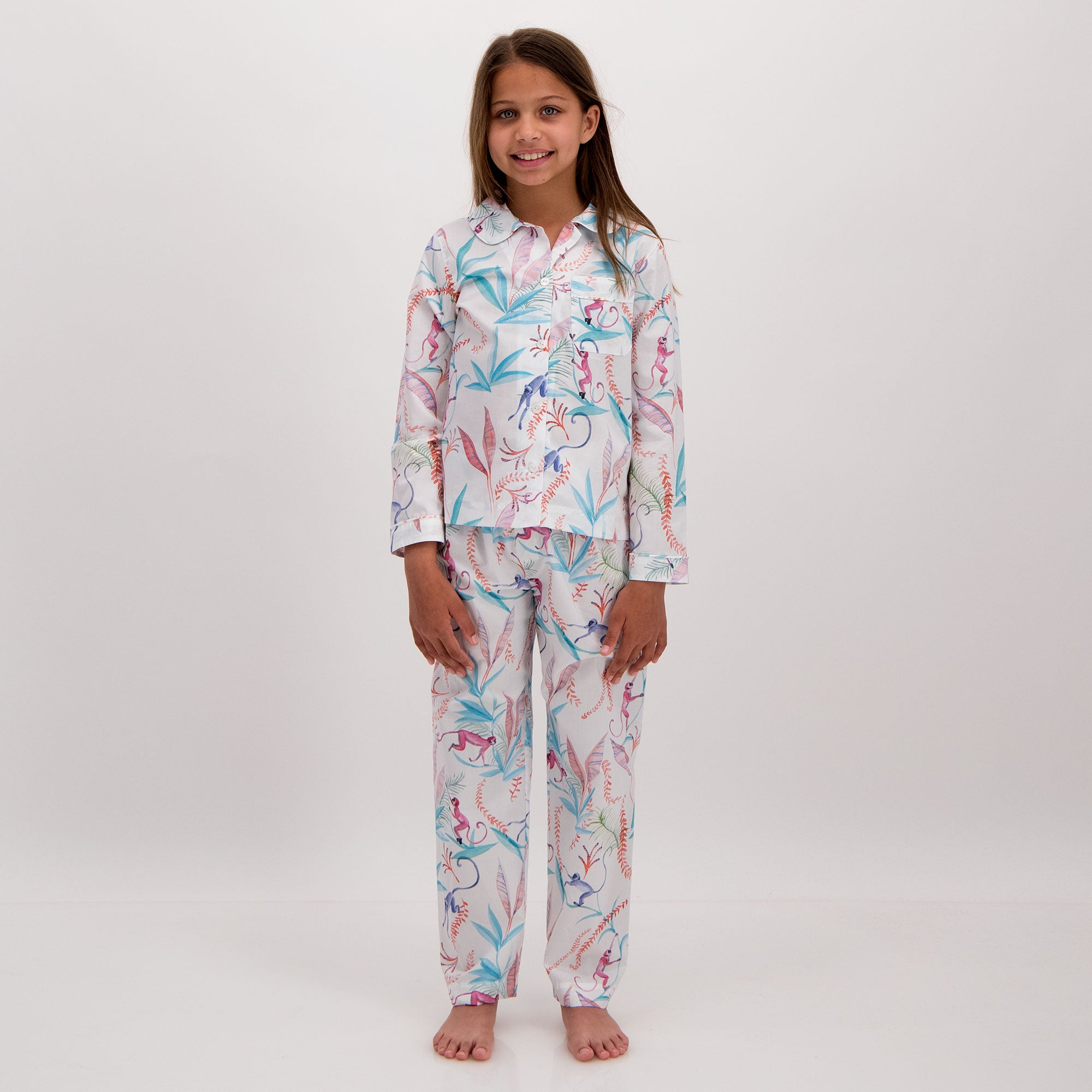 Girls Long Pyjamas Monkeys - Woodstock Laundry