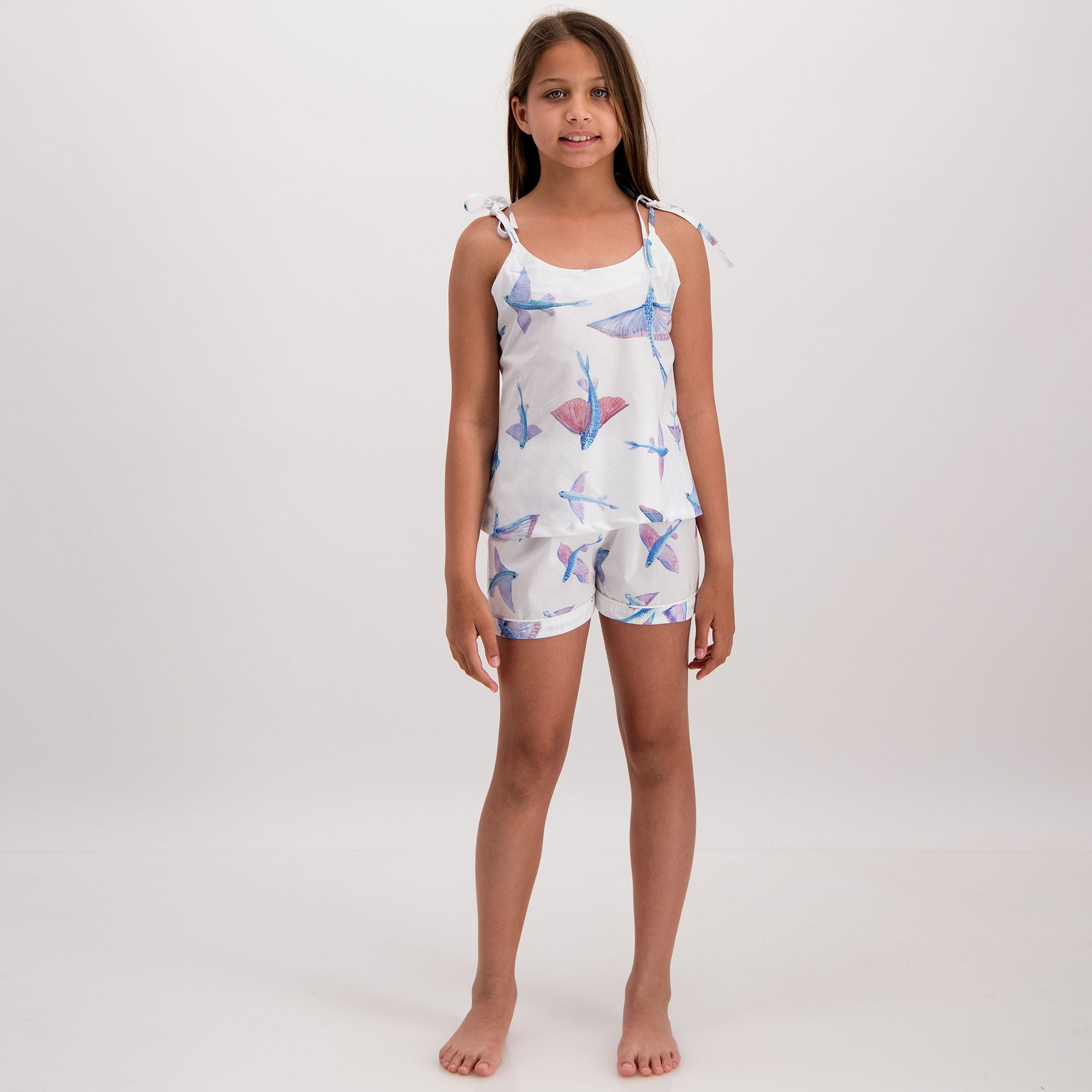 Girls Camisole Pyjamas Flying Fish White - Woodstock Laundry