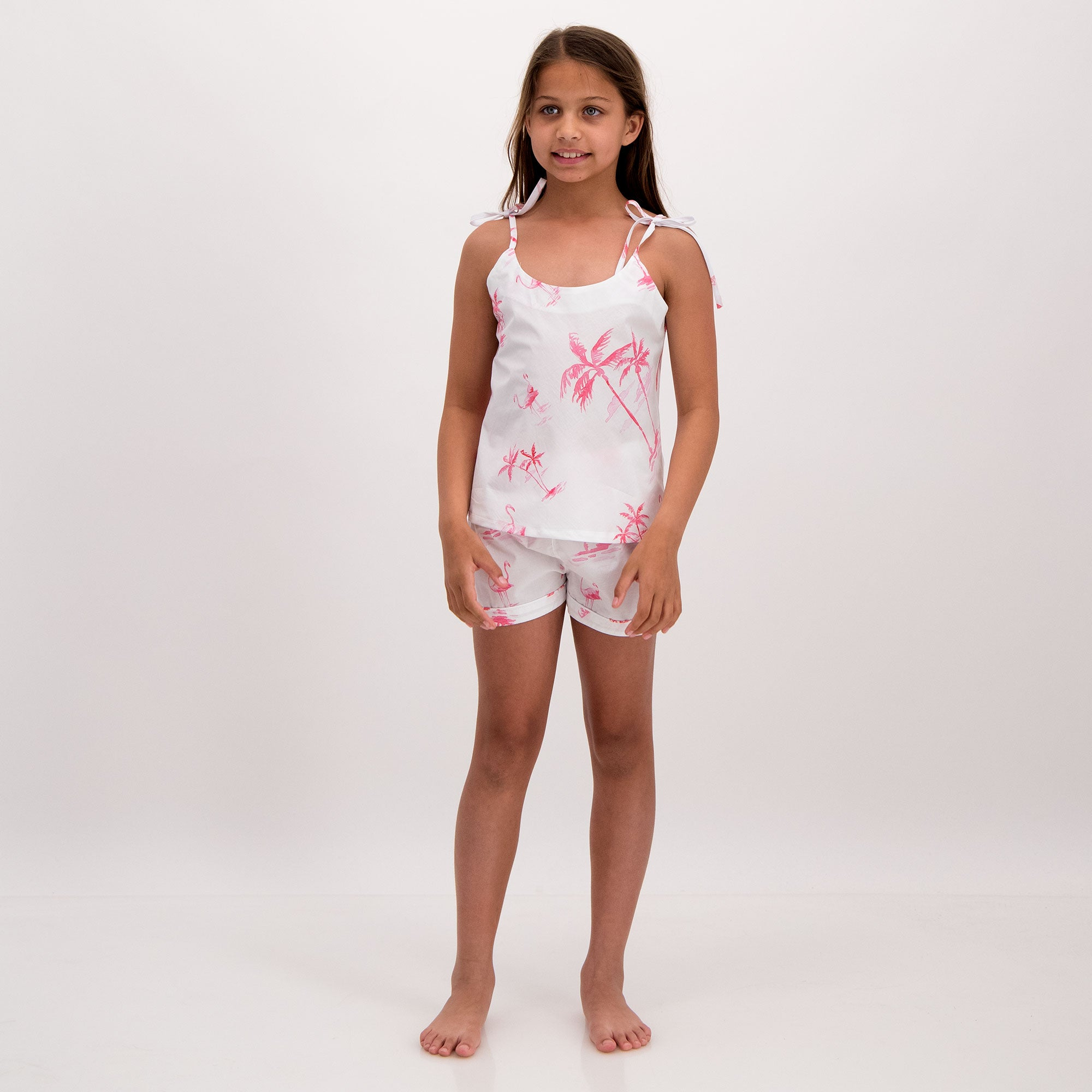 Girls Camisole Pyjamas Pink Palm - Woodstock Laundry