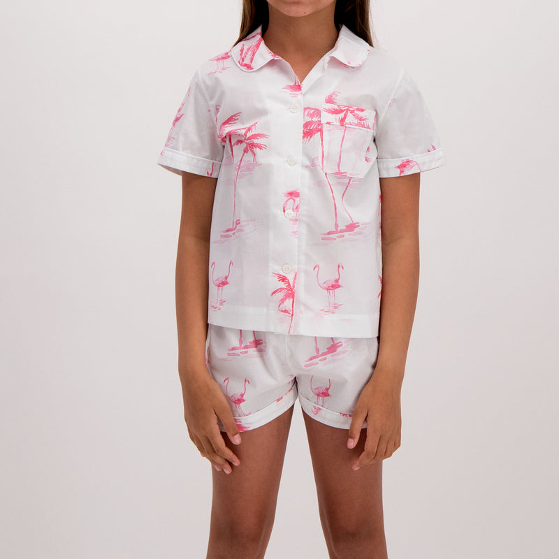 Girls Short Pyjamas Pink Palm - Woodstock Laundry