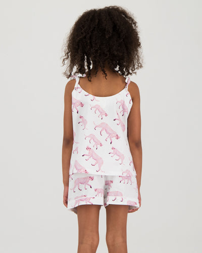 Girls Camisole Pyjamas - Pink Cheetahs
