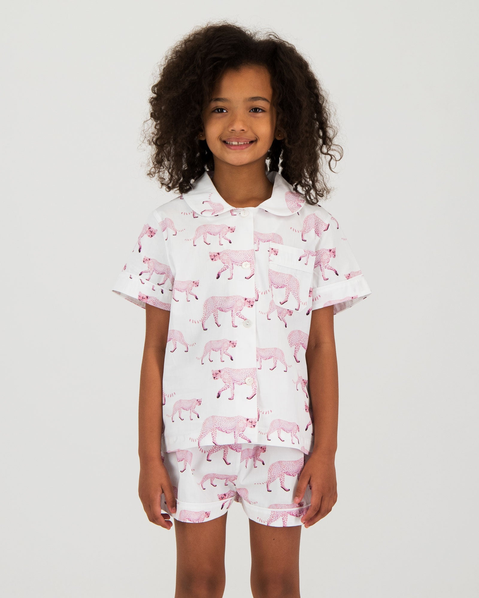 Girls Short Pyjamas - Pink Cheetahs