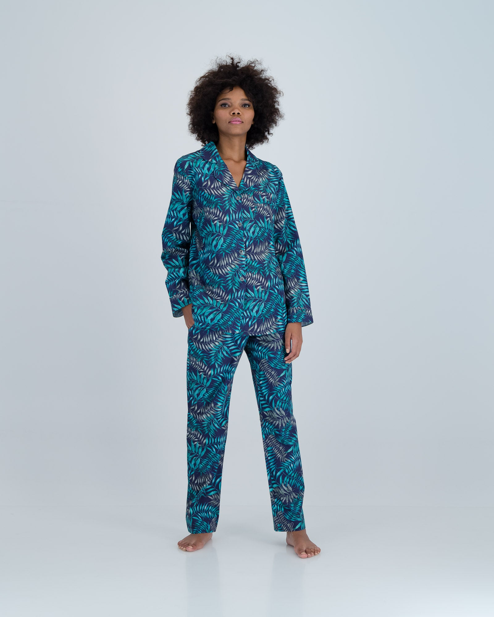 Womens Long Pyjamas Palm Leaves Navy