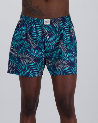 Mens Boxer Shorts Palm Leaves Navy