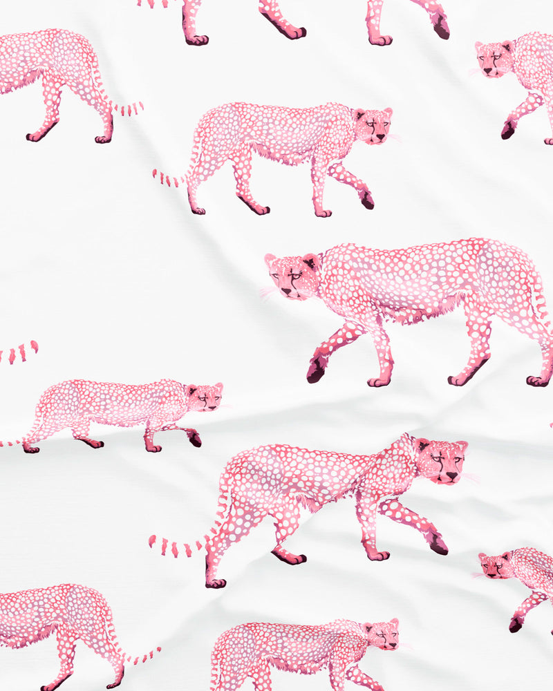Womens Long Pyjamas Pink Cheetahs Front - Woodstock Laundry