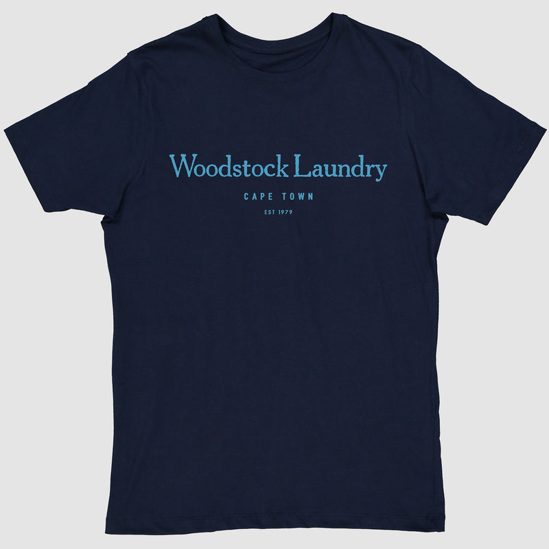 T-Shirt Navy with Light Blue Typo | Woodstock Laundry
